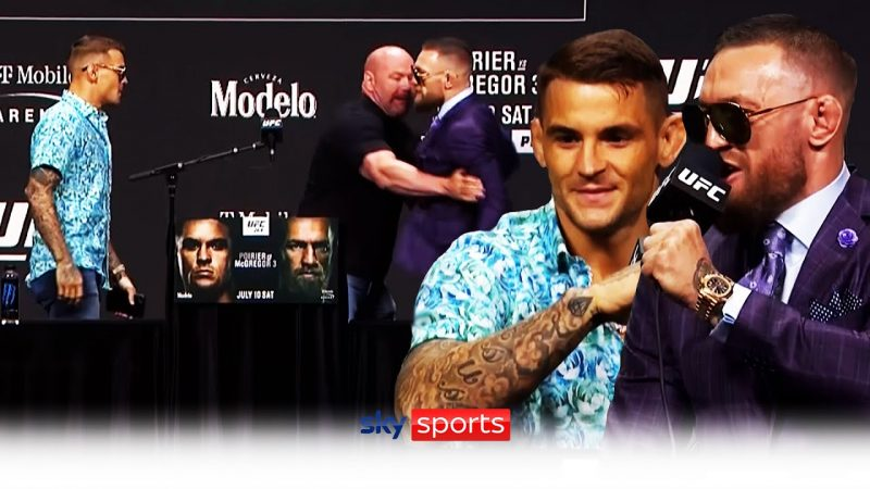 Conor McGregor & Dustin Poirier have to be held apart after trash talking UFC 264 press conference!