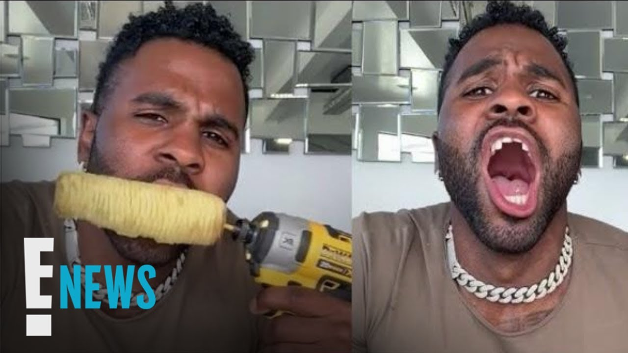 Jason Derulo Chips Teeth Eating Corn Attached to Power Drill   E! News